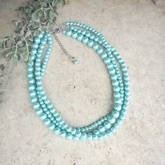Bright Tiffany blue pearl necklaceTiffany blue by Karavakishop