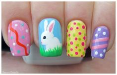 Pretty bright pastel nails for Easter...complete with white bunny!