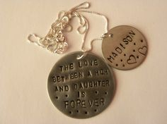 Love Mom & Daugther necklace by TaylordMetals on Etsy, $27.00