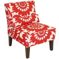 Add an elegant look to your room decor with this gorgeous armless chair. Upholstered in fashionable pattern fabric and delicately handcrafted in plush foam padding for added support and comfort. This ...