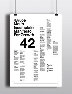 Bruce Mau's Incomplete Manifesto for Growth Poster by Oliver Jackson