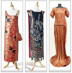 Red Fern of London dress, 1924 (left) and 1924 Lanvin Dress in spirit of Chinese prints and lacquers with diamanté and bead embroidery effect in paint (middle) and orange dress after Mariano Fortuny