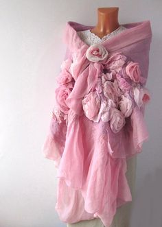Nuno felted scarf - Pink Roses