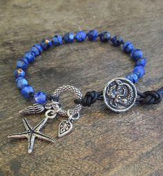 Mermaid Starfish Knotted Leather Wrap Bracelet, Beach Chic Jewelry $30.00