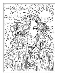 Adult Coloring Page Fantasy Cherry Blossom Tree Cool Line Art Pinterest Adult Coloring Pages Coloring Pages And Adult Coloring