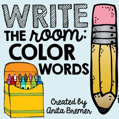 Write the Room Color Words Your students will have fun expanding their vocabulary, practicing their handwriting skills, and matching numbers. A fun writing literacy activity. Perfect for a Kindergarten or First Grade writing center. Kindergarten Writing Activities, Kindergarten Centers, Sight Word Activities, Kindergarten Classroom, Literacy Centers, Learning Activities, Picture Cards, 10 Picture, 1st Grade Writing
