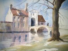 Aquarelle - Bruges, Auteur Madeleine Defawes