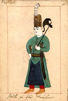 The 'Rålamb Costume Book' is a small volume by an undidentified Ottoman artist, containing 121 miniatures in Indian ink with gouache and some gilding, displaying Turkish officials, occu… Military Costumes, Mughal Empire, Linoprint, Military Pictures, Military Art, Military History, Turkish Art, Ottoman Empire, Modern Warfare