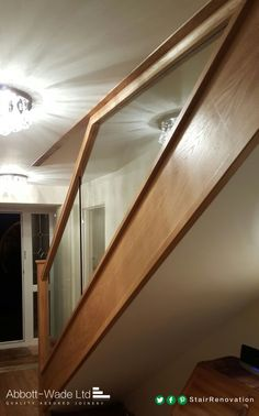Diminishing glass maximises width of stairs w/o compromising on design and style. Ship Ladder, Railing Design, Hallway Ideas, Carpet Stairs, Grey Carpet, Railings, Basement Remodeling, Staircases, Carpentry