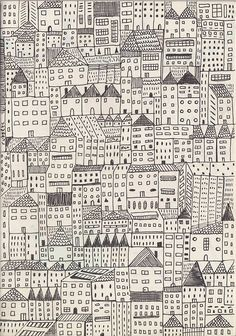 city Art Print by Rubyetc Ecole Art, Art Graphique, Pattern Illustration, City Art, Painting & Drawing, Cityscape Drawing, Art Lessons, Fabric Design, Pattern Design