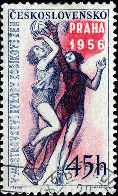 El baloncesto femenino, diseñada por el escultor checo Jan Cerny (1907-1978), grabado y fotograbado, y emitió el 25 de abril de 1956, Scott No. 748.