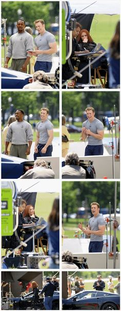Chris Evans, Anthony Mackie, and Scarlett Johansson on set in Washington DC on May 14, 2013 filming Captain America: The Winter Soldier
