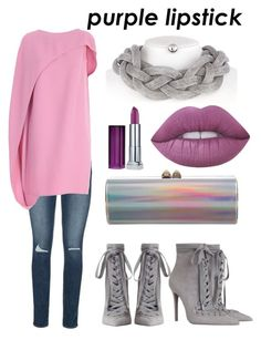 """#PurpleLipstick"" by ameliadeville on Polyvore featuring beauty, Lime Crime, Maybelline, Jimmy Choo, Paige Denim, Gianluca Capannolo and Zimmermann"