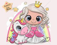Princess Cartoon, Cute Unicorn, Typography Prints, Nursery Prints, Little Princess, Cute Cartoon, Digital Illustration, My Design, Hello Kitty
