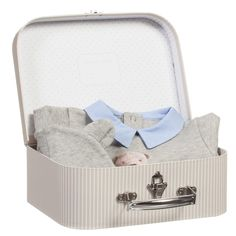 Baby boys adorable two piecebabysuit and hat box giftset by Lapin House. This cute outfit is made in grey cotton jersey, with a bear print on the front and a contrasting blue poplin peter pan collar and popper fastening at the back. The matching hat has ears on the top and is double-lined for comfort.The lovely case style gift box has a teddy bear print.