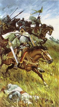 P Joubert - Caballería carolingia Medieval World, Medieval Fantasy, Military Art, Military History, Knight Drawing, Renaissance, Carolingian, Empire Romain, Sword And Sorcery