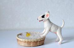 Needle felted white bull terrier от Fenekdolls на Etsy, $65.00