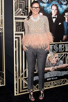 Jenna Lyons giving us a double take with pink and feathers. I don't care; I love it. Style evolution. Go girl.