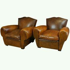 Leather~ nice club chairs.