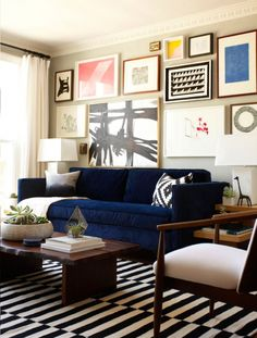 Amazing Navy Blue Sofa Living Room Design 92 In Dining Room Inspiration with Navy Blue Sofa Living Room Design Design Living Room, Eclectic Living Room, My Living Room, Home And Living, Living Room Decor, Modern Living, Modern Wall, Modern Sofa, Blue Velvet Sofa Living Room