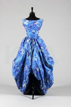 An Yves Saint Laurent for Christian Dior blue floral chiné taffeta evening gown `Sultane', `Curving Line collection', Autumn-Winter, 1958,