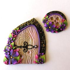 Purple Fairy Door and Window Set, Pixie Portal by Claybykim on Etsy