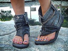 denim sandal-boots