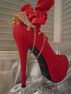 High Heel Platform Spiked Women Shoes Red with Gold by Spikesbyg, $120.00