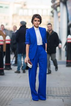 Blue female suit smart and bright