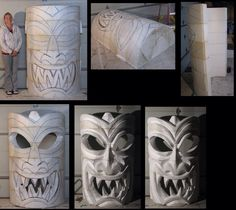 Big 3d foam sculpture of tiki mask. The step by steps!     Here are the 1st few steps in my latest big 3d foam sculpture for Halloween rentals!   I start w/ scrap styrofoam that's shaped like 1/2 hockey pucks.  Glue them on top of one another to make a 6 ft. tall half cyllinder.  Then I draw a face.  Next I cut the back out and hollow it out for future internal lighting.  Next I attack it with a hot knife from Demand Products.