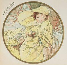 ❤ - Alphonse Mucha | The Months - February, 1899.