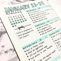 Weekly spread (so many mistakes on this spread, but its okay). Changed my layout for this week. I don't like seeing empty spaces on my bullet journal so I'm trying to squeeze my dailies on one page. Also, I need to get better highlighters lol. Bullet Journal Design, Planner Bullet Journal, Bullet Journal Page, Bullet Journal Hacks, Bullet Journal Spread, Life Planner, Journal Pages, Bullet Journals, Bullet Journal Assignment Tracker