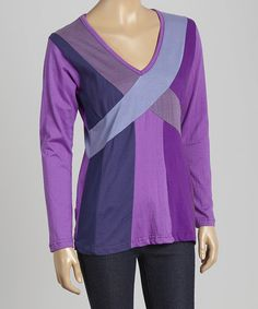 This Purple & Blue Crossover V-Neck Tee is perfect! #zulilyfinds