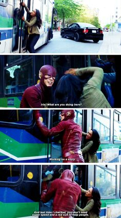 """""""Last time I checked, you don't need super speed and a red suit to help people"""" - Iris and Barry #TheFlash"""