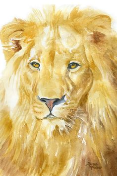 Lion is a Giclée Print of my original watercolor painting. Measures 4x6. (portrait/ vertical orientation)    Printed on fine art paper using
