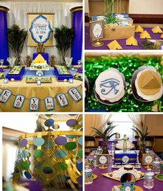 Egyptian party ideas.  Take special note of the Peacock Chandelier in the lower left hand corner.