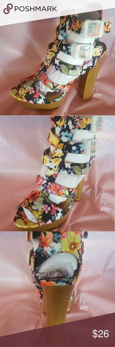 """ON SALE Qupid Multi color chunky heel NO OFFERS Runs half size small Heel height 5"""" Qupid Shoes Heels"""