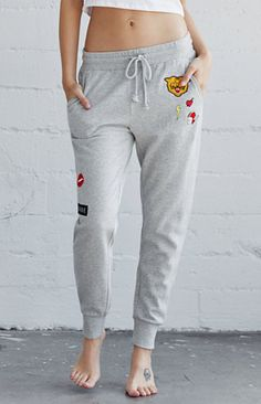 Patched Fleece Jogger Pants