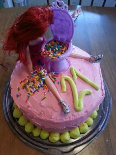 Barbie throwing up 21st bday cake
