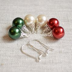 Mix and Match Earrings Christmas Balls Holiday by livjewellery