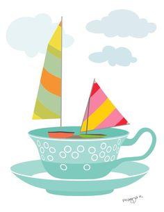 """Sailing in a Tea Cup"" illustration by Pragya Kothari"