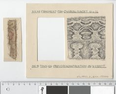 Oseberg Findings from folder 'Oseberg, textiles - silk': Silk Fabric 13, fragment 8. The character of Sofie Krafft: a / ink drawing ('trying construction') and b / watercolor ('character') and cut out. Measure A / B: 16.2 cm, H: 14 cm, b / B: 3.4 cm, H: 8.2 cm.