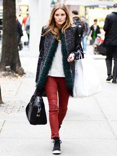 Casual street style idea- Grey sweat shirt, blk converse and maroon waxed pants. Olivia Palermo