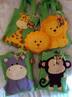 Safari Party, Jungle Party, Safari Theme, Jungle Theme, Baby Party, Animal Bag, Felt Patterns, Animal Party, Felt Crafts