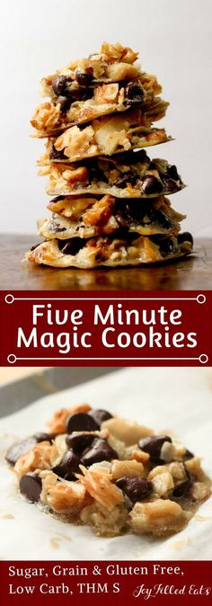 Five Minute Magic Cookies - Low Carb, Grain Gluten Sugar Free, THM S - These Five Minute Magic Cookies take all the flavors of my popular Magic Cookie Bars and turn them into a cookie that mixes up in only 5 minutes. With chocolate chips, coconut flakes,