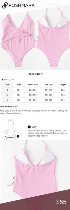 🆕Pink tie front one piece swim Measurements see chart above 🛍🛍Shop with confidence....I am a Poshmark ambassador, top rated seller, posh and sip host, and two time Poshmark party cohost. Bundle for best discounts. Check back often as new boutique items are added daily. Size not available? Leave a message and if it's available with my wholesale vendors I will order for you at no additional cost🛍 Swim One Pieces