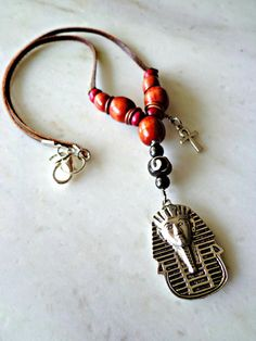 Mens Egyptian Necklace Mens Tribal Necklace by KheperaAdornments