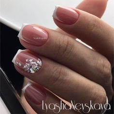 Bridal Nails Wedding Rhinestones Ideas For 2019 Pretty Nail Designs, Toe Nail Designs, Art Designs, Bride Nails, Wedding Nails, French Nails, Manicure And Pedicure, Gel Nails, Nail Nail