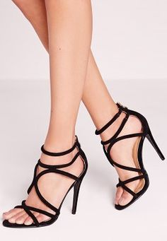 Curved Strap Heeled Sandals Black