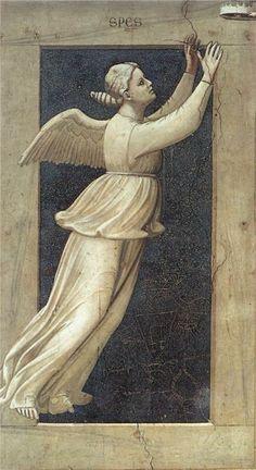 Fresco - 'The Seven Virtues: Hope' by Italian Renaissance artist Giotto di Bondone, 1306